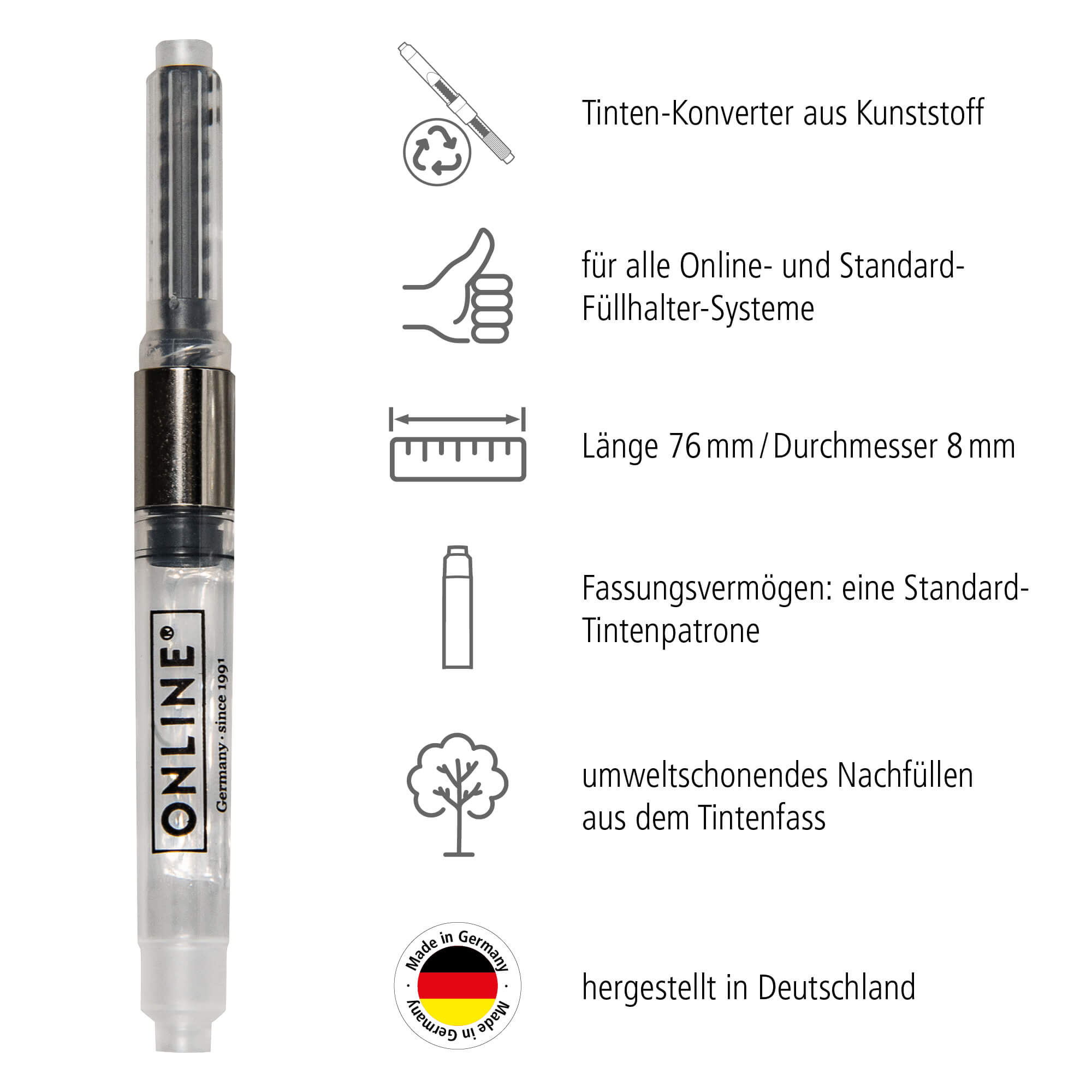 Converter for Standard Fountain Pen Systems in Tag Bag